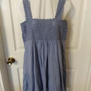 BLU BLUE DRESS WITH EYELET COTTON AND CROCHET BODI